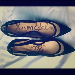 Sam Edelman Black Suede Cut out Heels.